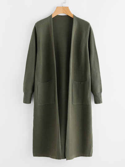 Slit Side Horizontal Rib Longline Sweater Coat