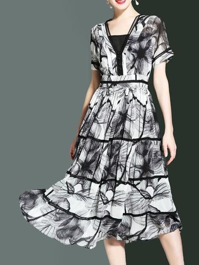 Boat Neck Print A-Line Dress