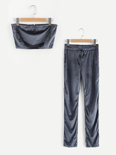 Velvet Bandeau Top With Striped Tape Pants