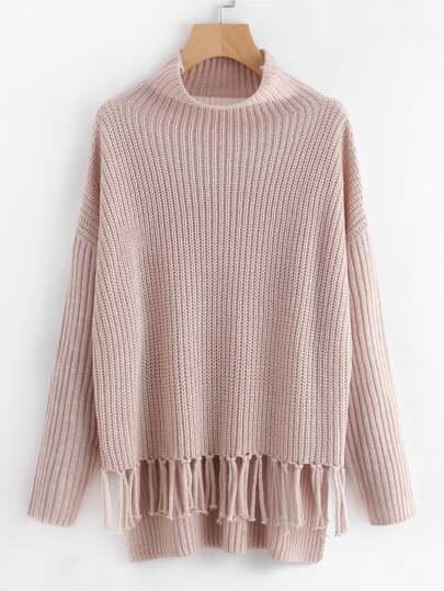 Pullover mit Knoten und Fransen
