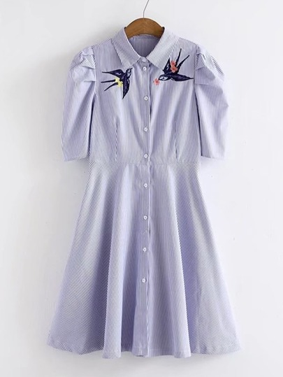 Swallow Embroidery Striped Shirt Dress