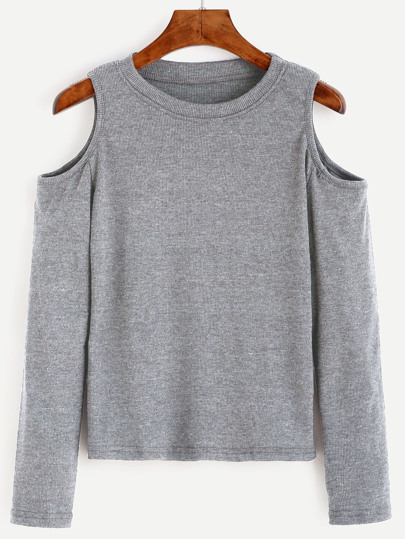 Open Shoulder Rib Knit Tee