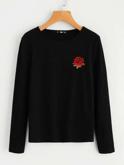 Rose Embroidery Ribbed Knit Tee