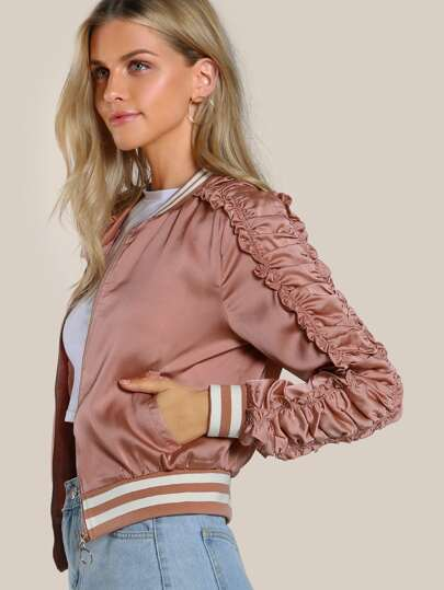 Ruffle Sleeve Bomber Jacket BLUSH