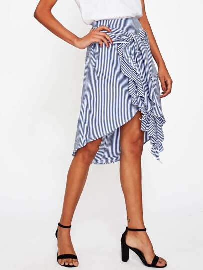 Vertical Striped Tie Front Overlap Skirt