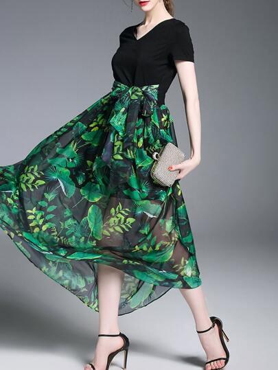 V Neck Leaves Print Dress