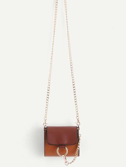 Mini Piping Detail Ring Front PU Chain Bag