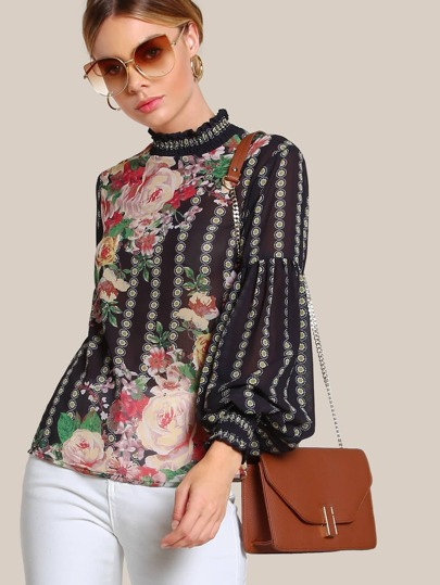 Multi Print Long Sleeve Sheer Top BLACK