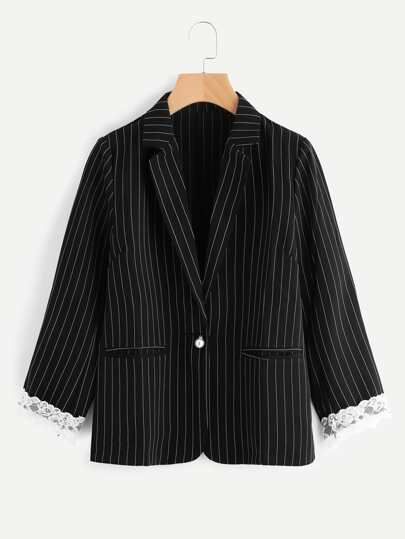 Pinstripe Contrast Lace Blazer With Faux Pearl Detail