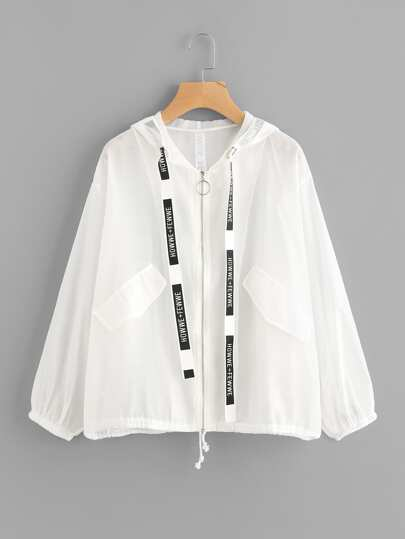 Letter Ribbon Detail Drawstring Hem Jacket
