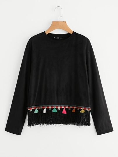 Embroidered Coin Fringe Hem Top