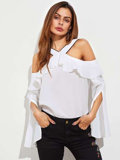 Split Bell Sleeve Frill Cold Shoulder Top