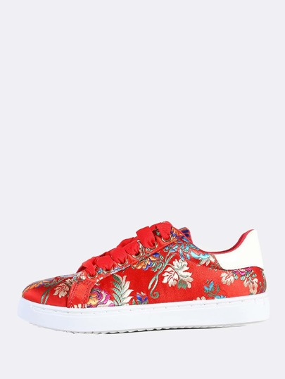 Oriental Print Lace Up Sneakers RED