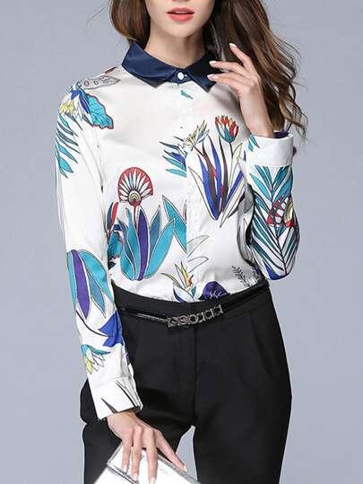 Flower Print Contrast Neckline Shirt