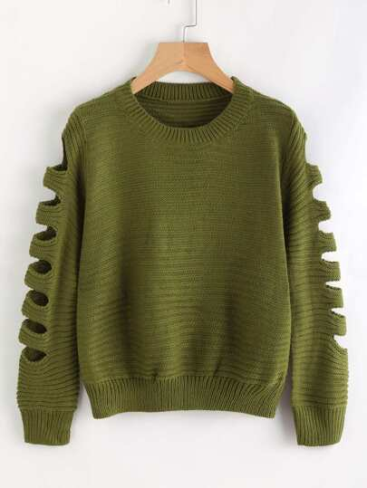 Ladder Cut Out Sleeve Sweater