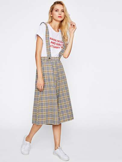 Tartan Plaid Wide Leg Pants With Straps