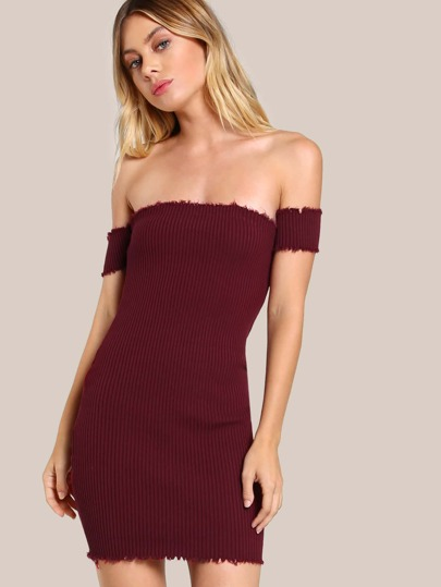 Bardot Sleeve Ribbed Bodycon Dress BURGUNDY