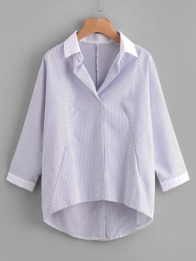 Blusa de rayas de espalda con botones