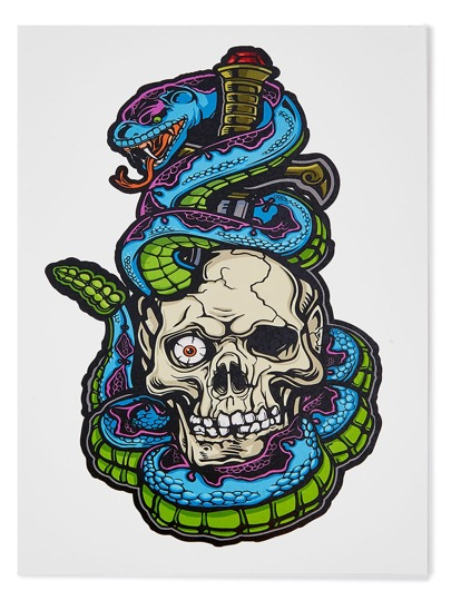 Skeleton And Snake Tattoo Sticker
