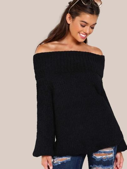 Turtleneck Knitted Top BLACK