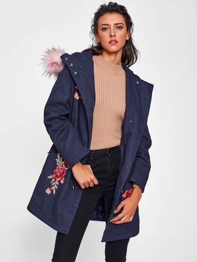 Faux Fur Trim Hood Embroidery Applique Coat