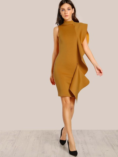 Sleeveless Ruffle Accent Dress MUSTARD