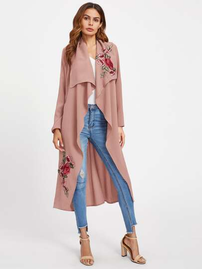 Flower Embroidery Patch Belted Waterfall Coat