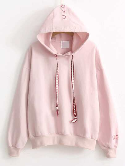 Letter Embroidery Drawstring Hooded Sweatshirt