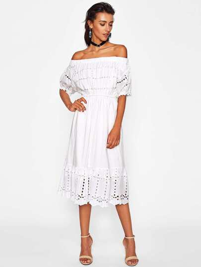 Scallop Trim Hollow Out Bardot Dress