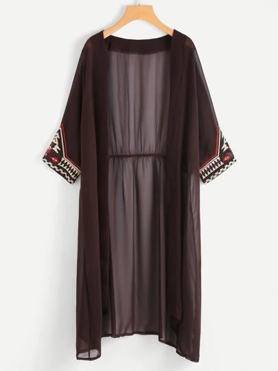 Kimono lungo trasparente con ricamo tribale