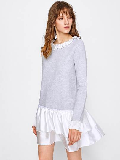 Layered Flounce Trim Heather Knit Dress