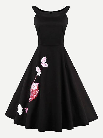 Flower Embroidered Circle Dress