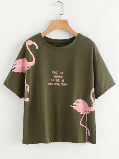 Camiseta con estampado de manga dolman