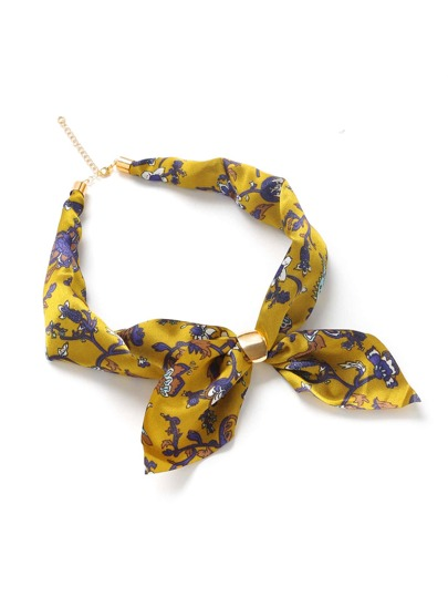 Calico Print Neckerchief With Chain