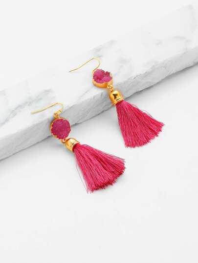 Crystal Detail Tassel Drop Earrings