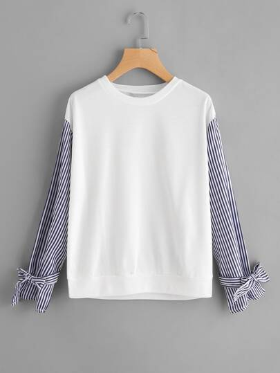 Contrast Striped Bow Tie Sleeve Tee
