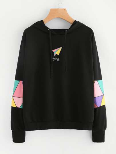 Geo Print Hooded Sweatshirt