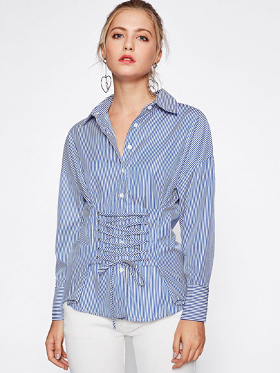 Lace Up Corset Blouse