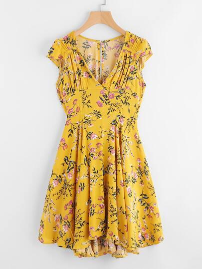 Ditsy Print Asymmetric Dip Hem Keyhole Back Dress
