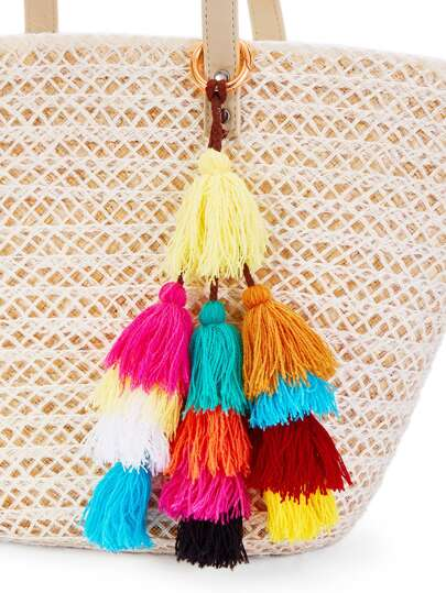 Color Block Mini Tassel Keychain