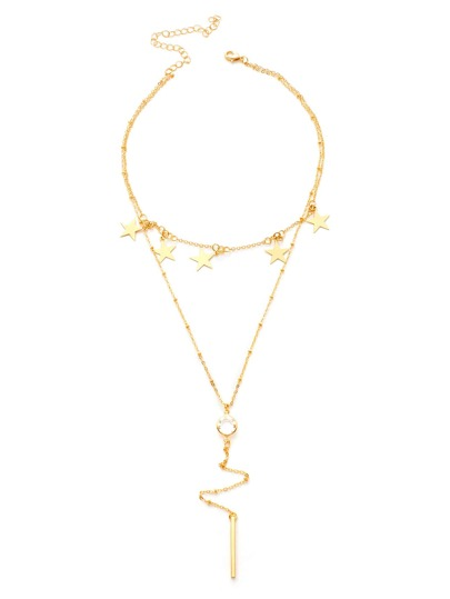 Bar Pendant Double Layered Lariat Necklace