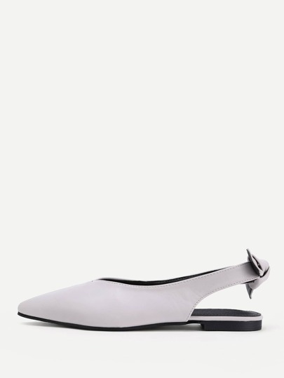 Bow Detail Pointed Toe PU Flats