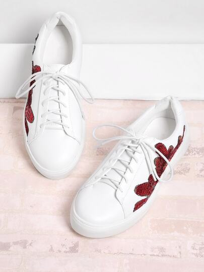 Sequin Flower Lace Up Sneakers