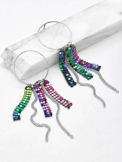 Sequin & Chain Design Drop Earrings
