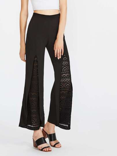 Laser Cut Lace Panel Wide Leg Pants