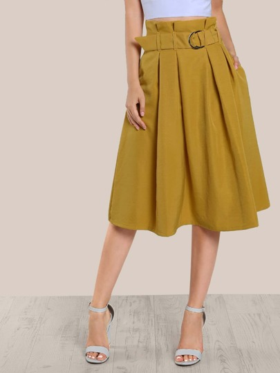 High Rise O Ring Skirt MUSTARD