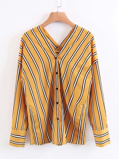 Double V Neck Vertical Striped Blouse