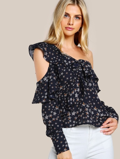 Asymmetric Shoulder Flounce Detail Star Print Blouse