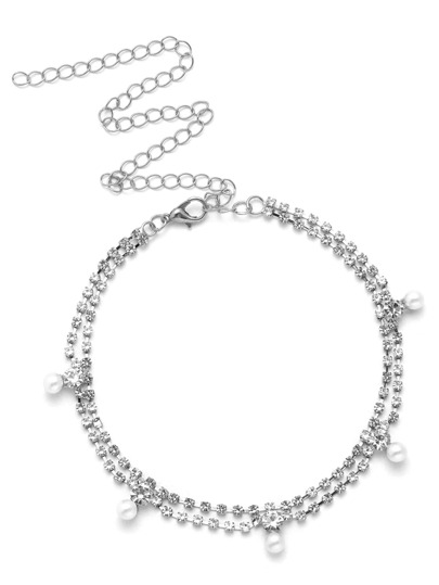Rhinestone & Faux Pearl Decorated Chain Choker