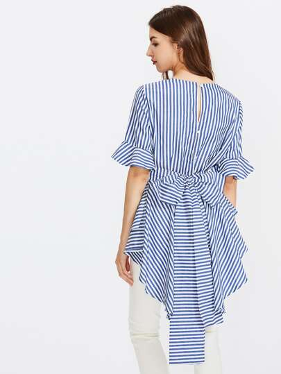 Contrast Striped Bow Tie Back Frill Blouse